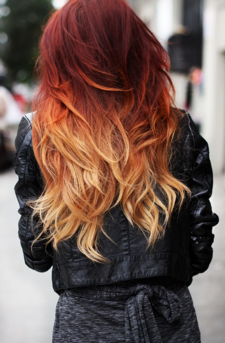 Fiery red balayage hairstyle
