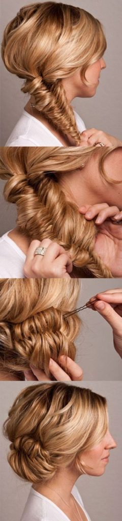 Fishtail messy bun tutorial