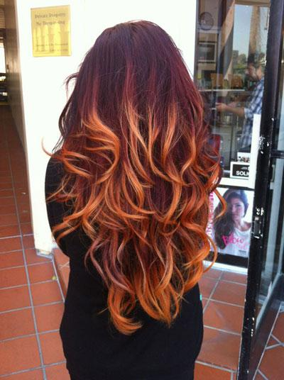 Flaming red ombre tutorial