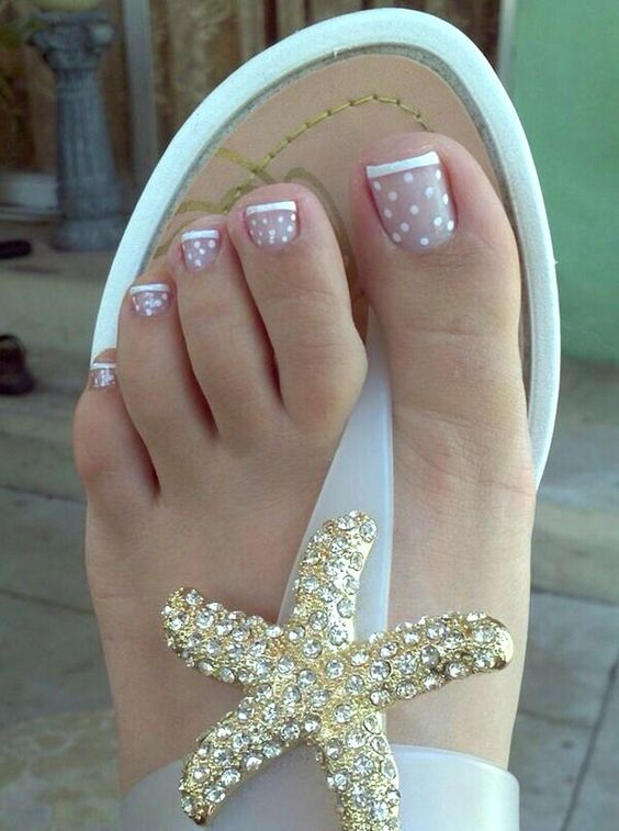 French toe nail polka dots - Pedicures Just Got Better With These 50 Cute Toe Nail Designs!