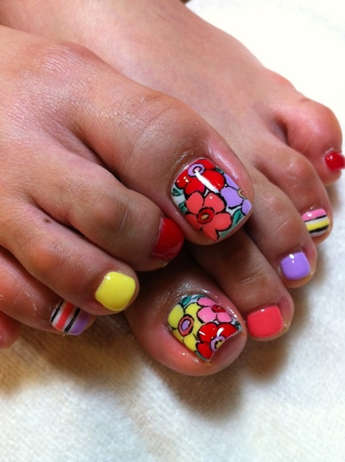 Funky floral toe nail art