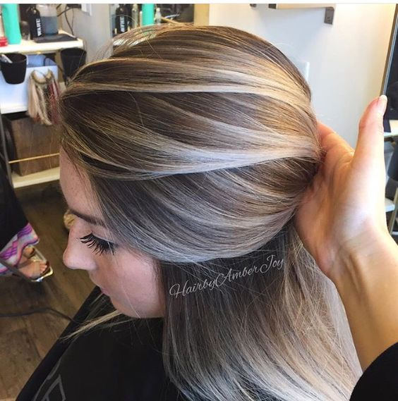 Gray blonde balayage hairstyle