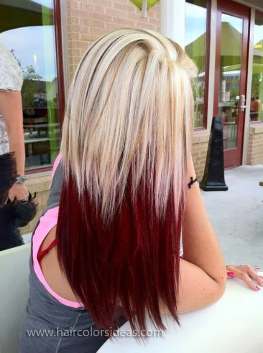 Half red blonde balayage hairstyle
