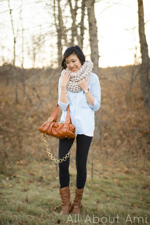Jumbo puff stitch crochet infinity scarf