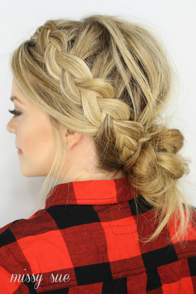 Lauren conrad hair two dutch braids low messy bun