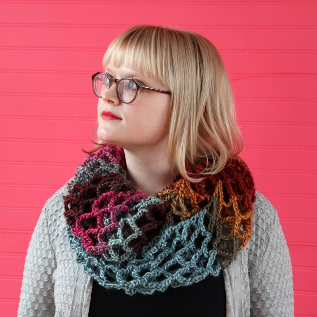 Mesh crochet infinity scarf