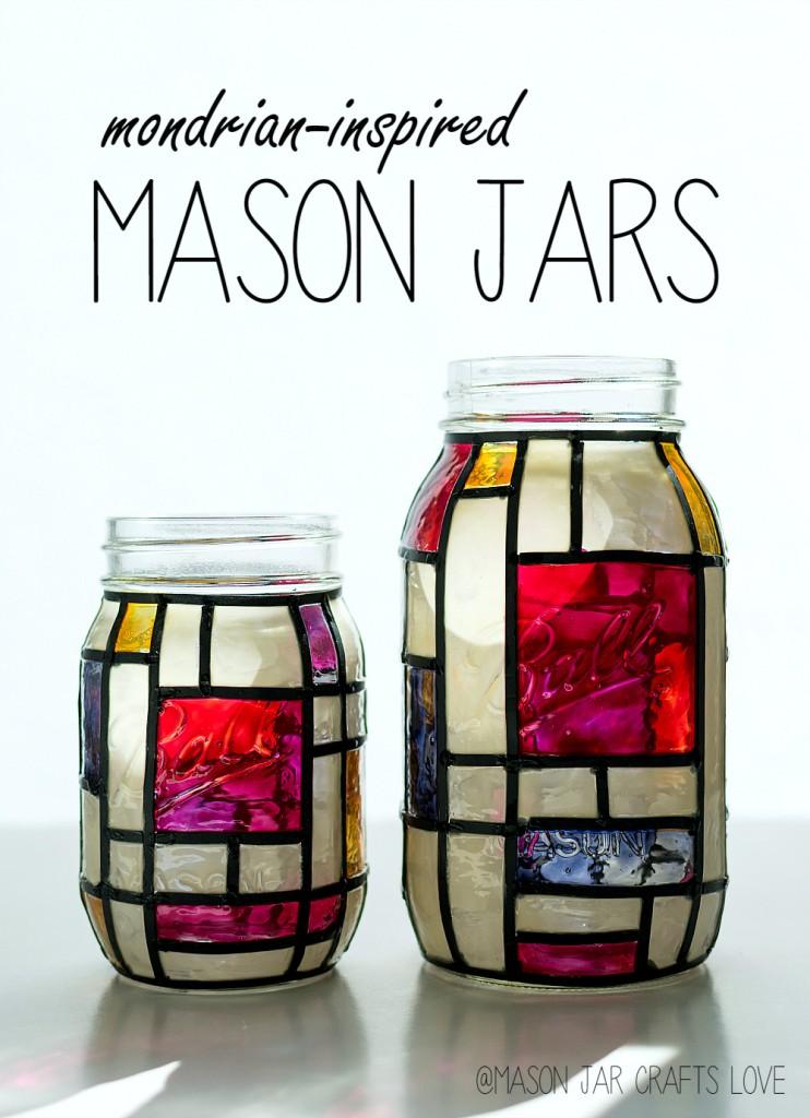 Mondrian mason jar