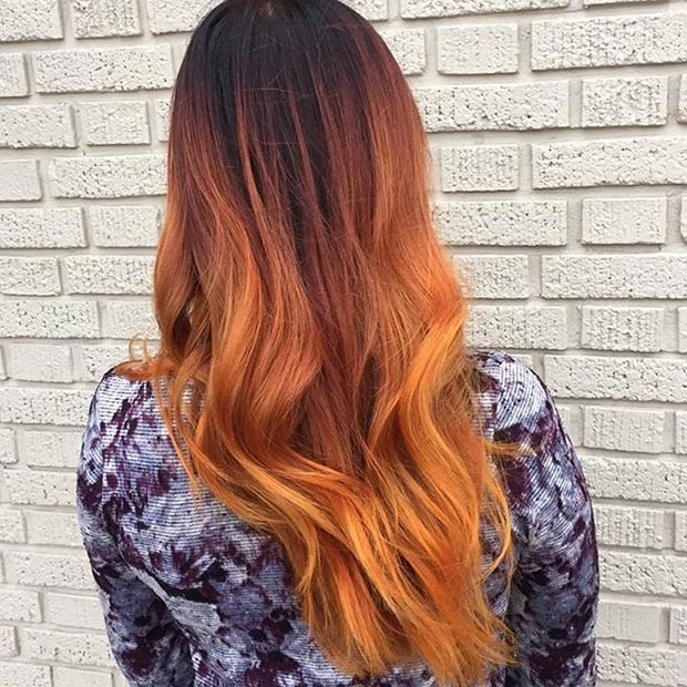 Orange balayage hairstyle