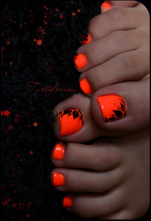 Pedicures just got better with these 50 cute toe nail designs orange floral toe nails prinsesfo Images