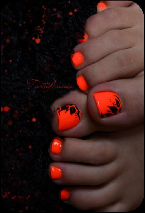Orange floral toe nails