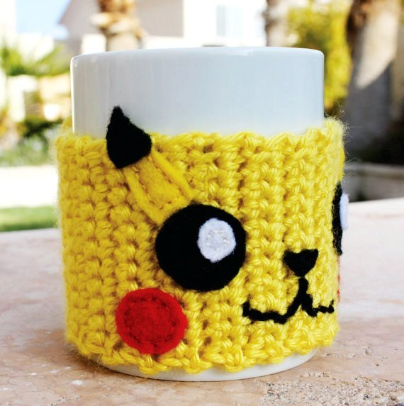 Pikachu inspired coffee mug tea cup cozy pokemon ish japanese cartoon crochet knit sleeve f83461
