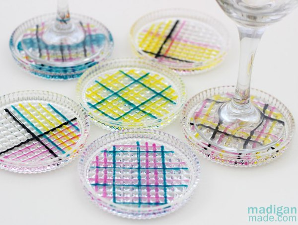 Plaid cmyk glass coasters craft 01