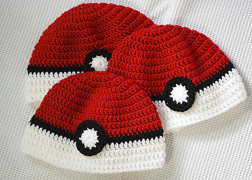 Pokeball hat crochet diy