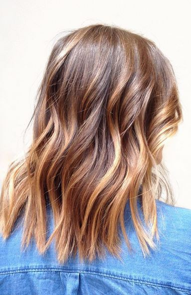 Pretty caramel balayage highlights