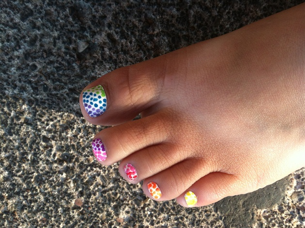 Rainbow Toe Nail Designs