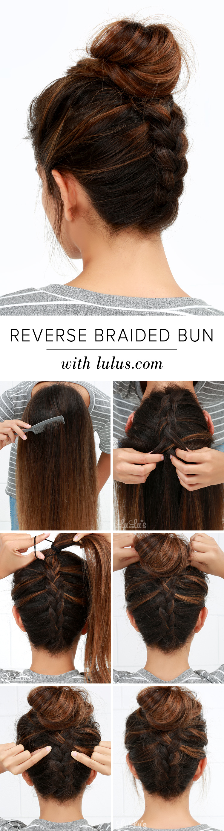 Reverse braid messy bun