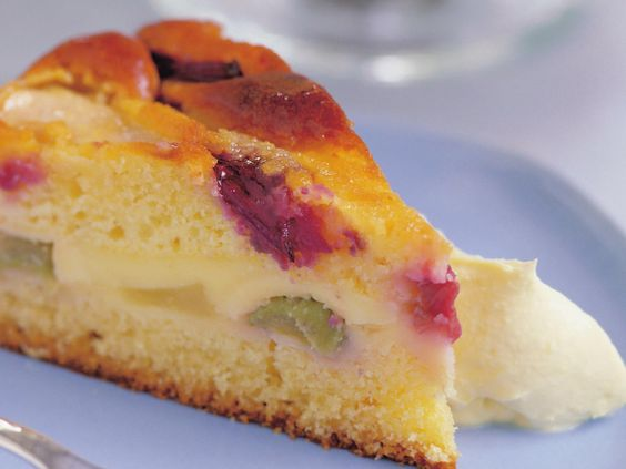 Rhubarb and pear custard cake
