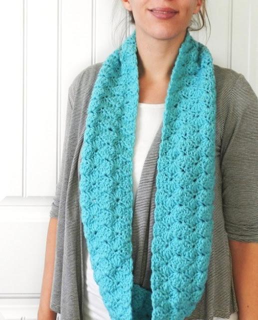 Shell crochet infinity scarf
