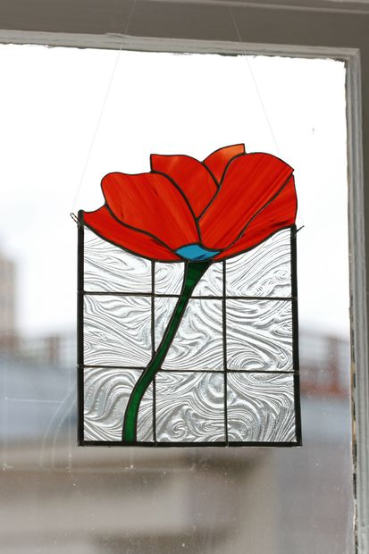 Small floral stained glass