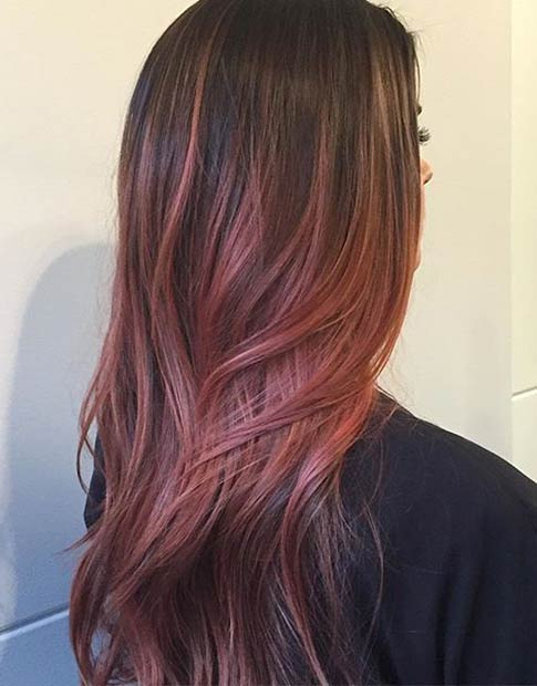 Soft rose red hair balayage hairstyle