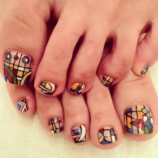 Pedicures just got better with these 50 cute toe nail designs stained glass toe nail designs prinsesfo Image collections