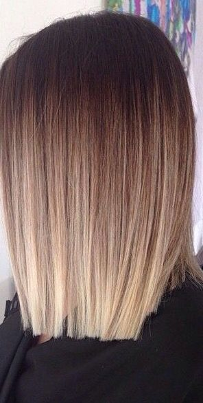Straight blunt brown blonde balayage hairstyle