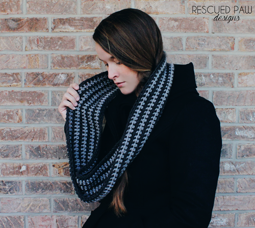 Striped crochet infinity scarf