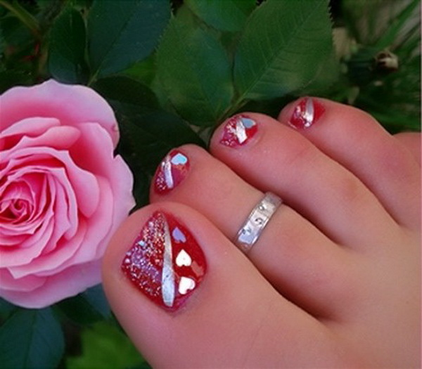 Pedicures just got better with these 50 cute toe nail designs toe nail art pink toenail designs prinsesfo Gallery