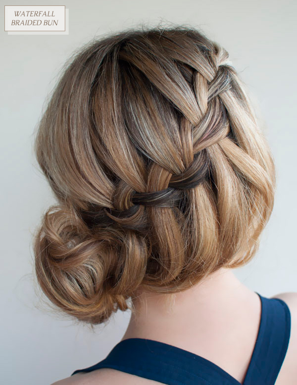 Waterfall braided bun long hairdo