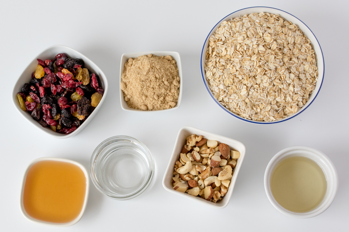 Berry nut granola ingredients