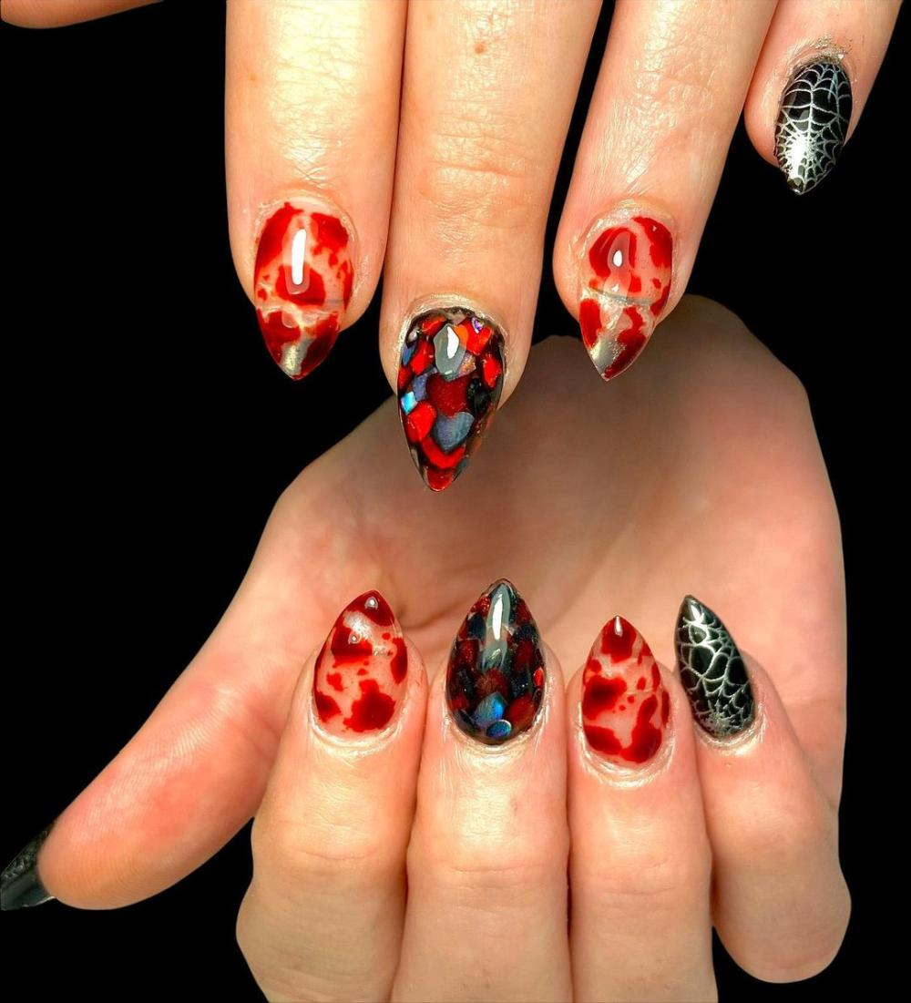 Black and red spooky nails