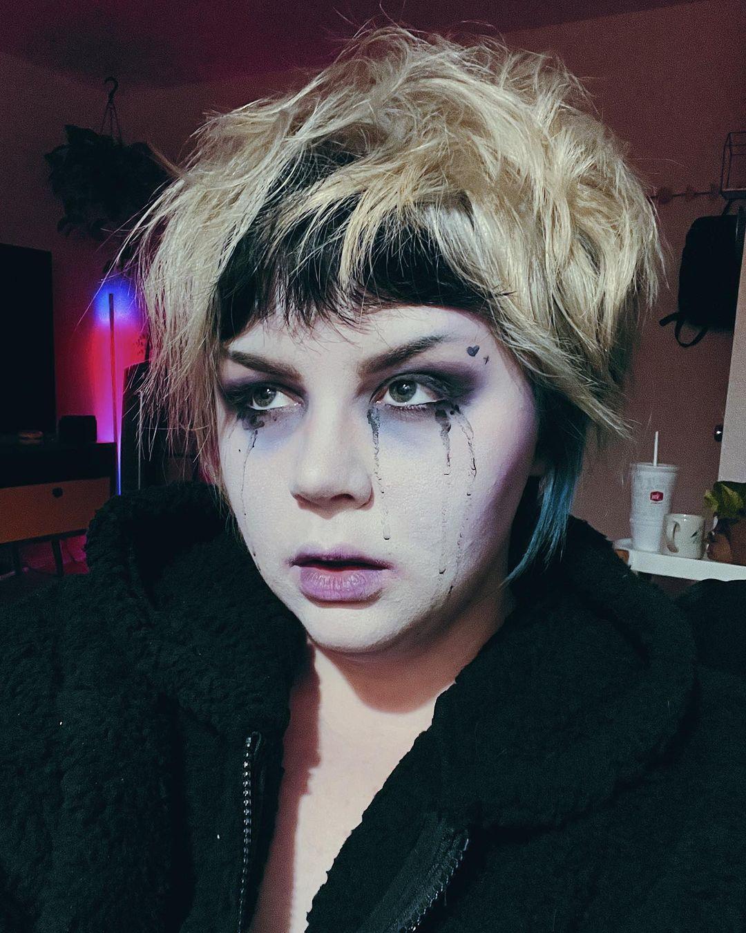 Black halloween makeup crying goth