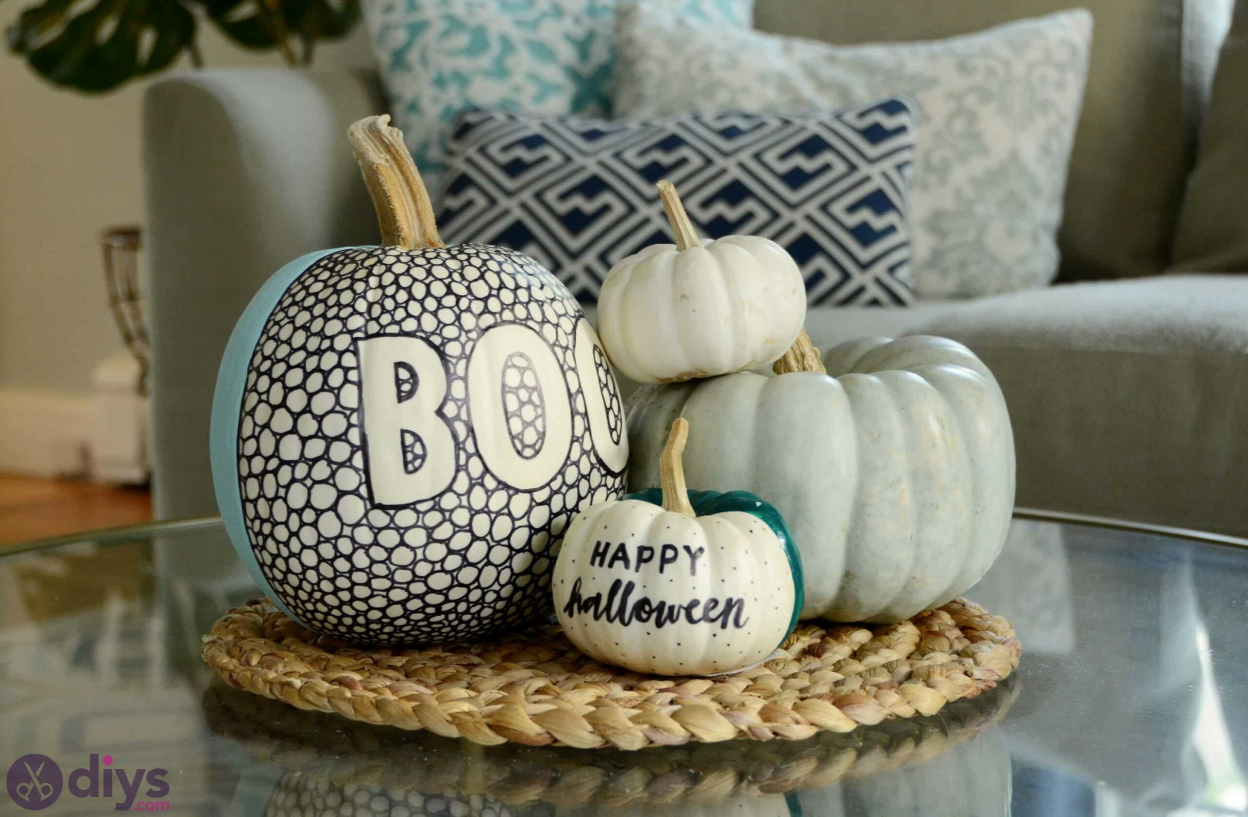 Black and white patterned pumpkin halloween decorations