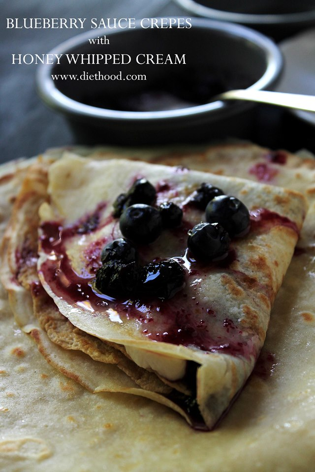 Blueberry sauce crepes honey whipped cream diethood