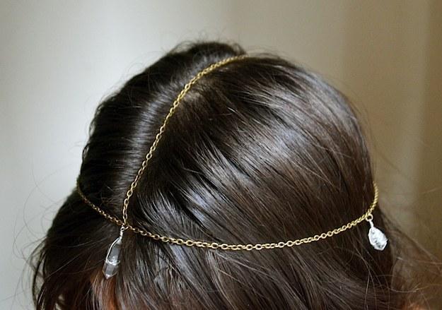 Boho crystal head chain