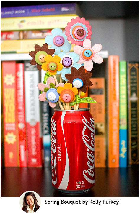Button and felt flower bouquet