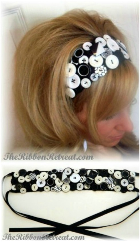 Button and ribbon headband