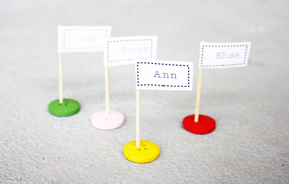 Button and toothpick flags