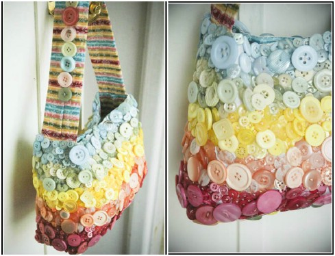 Button covered hand bag
