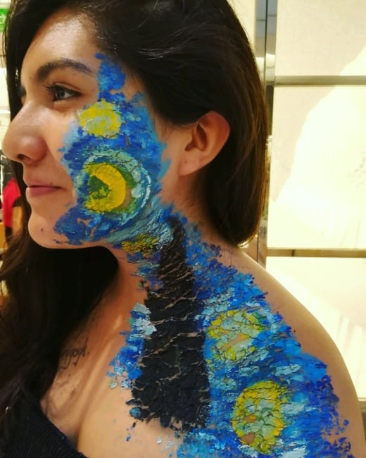 Colorful halloween makeup the starry night