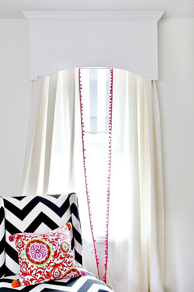 Cornice board and pom pom curtains