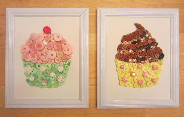 Cupcake button art