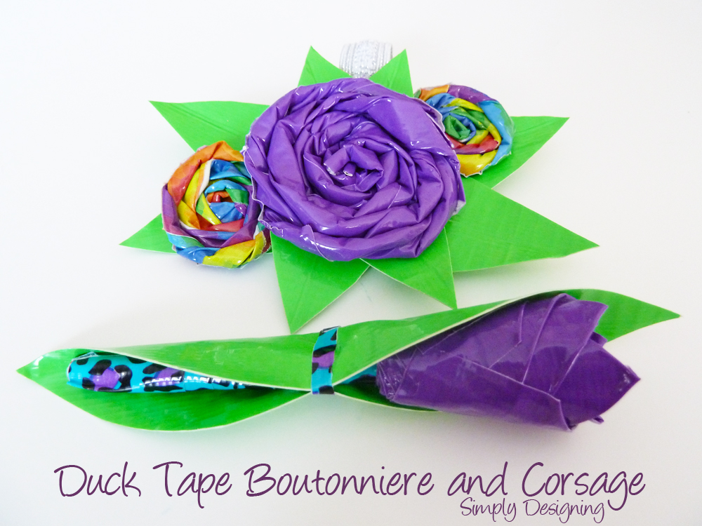 Diy boutonniere and corsage made from duct tape