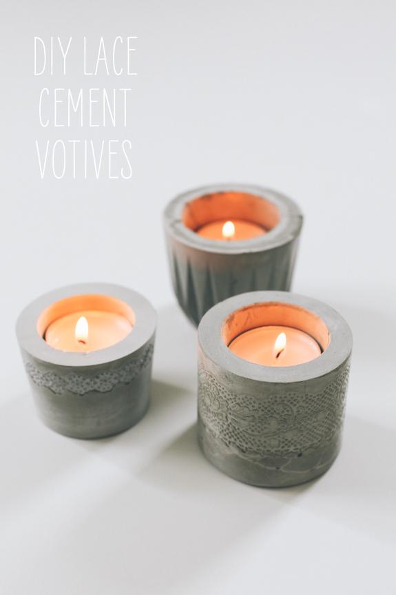 Diy lace cement votives