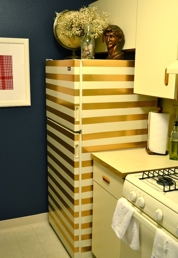 Diy gold stripe fridge made with duck tape
