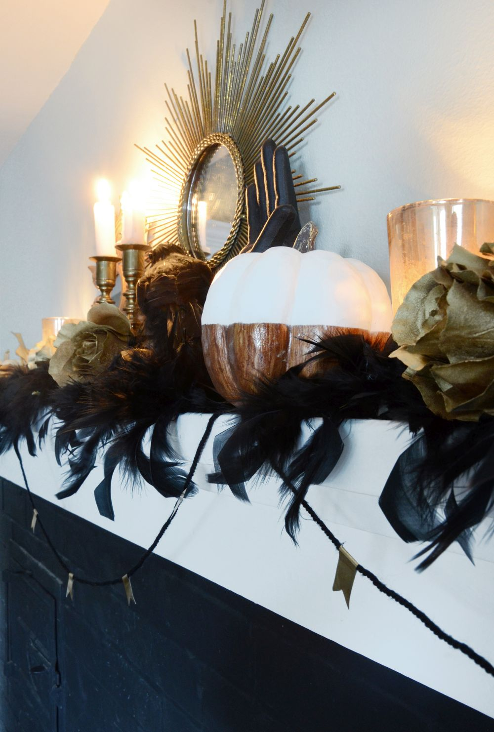 Dark elegant halloween mantel tutorial