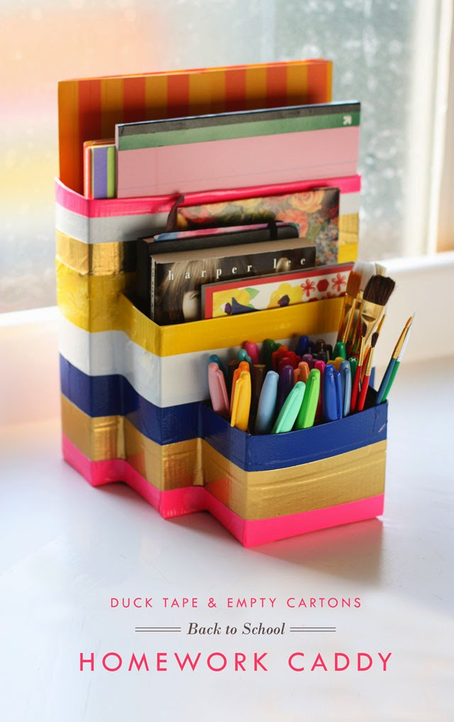 Diy duct tape homework caddy