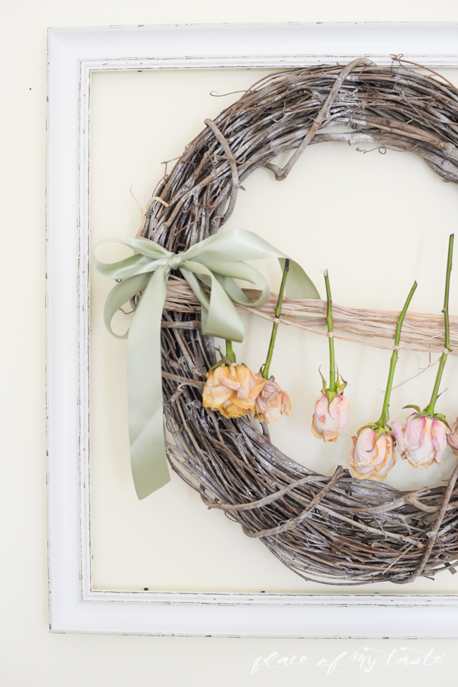 Dried roses door wreath