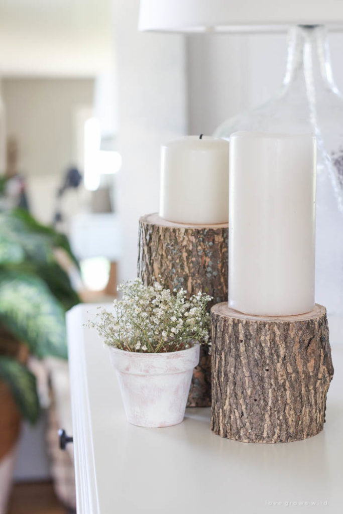 Easy diy log candleholder