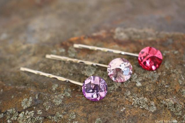 Easy gemstone bobby pins